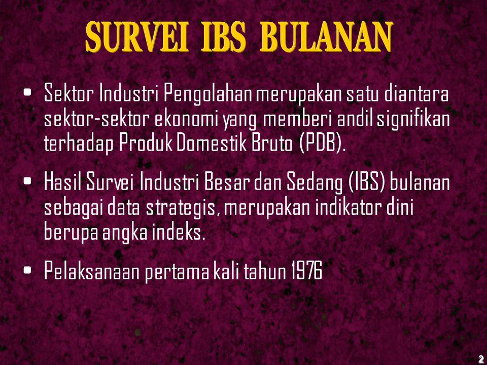 Kuesioner surveI IBS Bulanan dikirim ke perusahaan industri terpilih secara berjenjang melalui BPS Provinsi sampai kepada petugas pencacah.