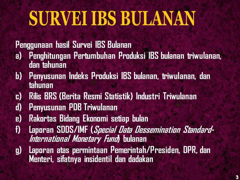 3 Penggunaan hasil Survei IBS Bulanan a)Penghitungan Pertumbuhan Produksi IBS bulanan triwulanan, dan tahunan b)Penyusunan Indeks Produksi IBS bulanan