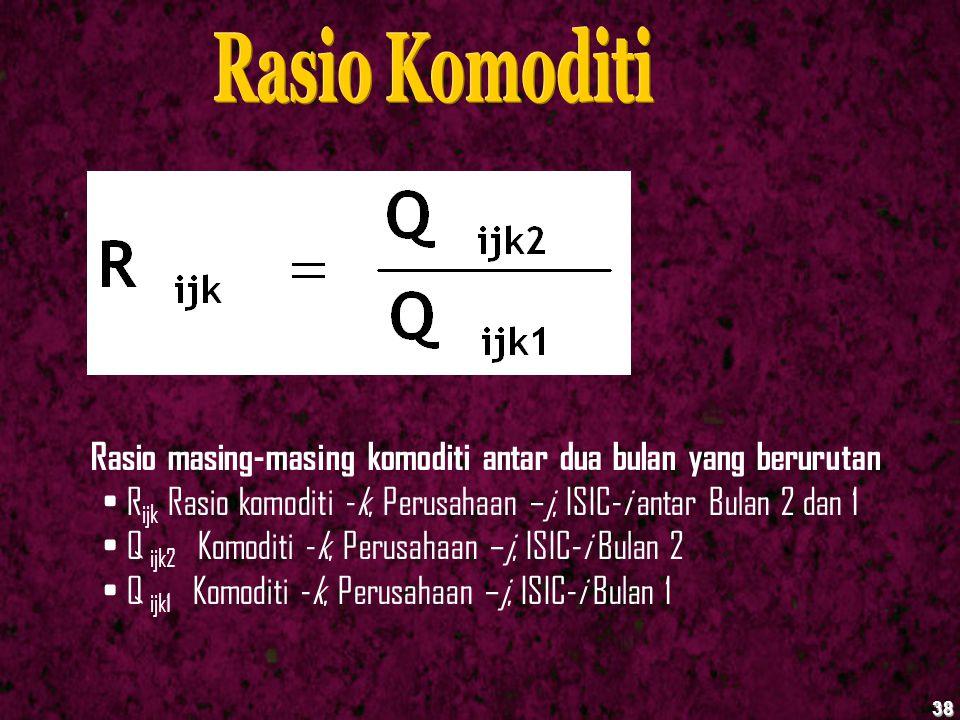 38 Rasio masing-masing komoditi antar dua bulan yang berurutan R ijk Rasio komoditi -k, Perusahaan –j, ISIC-i antar Bulan 2 dan 1 Q ijk2 Komoditi -k,