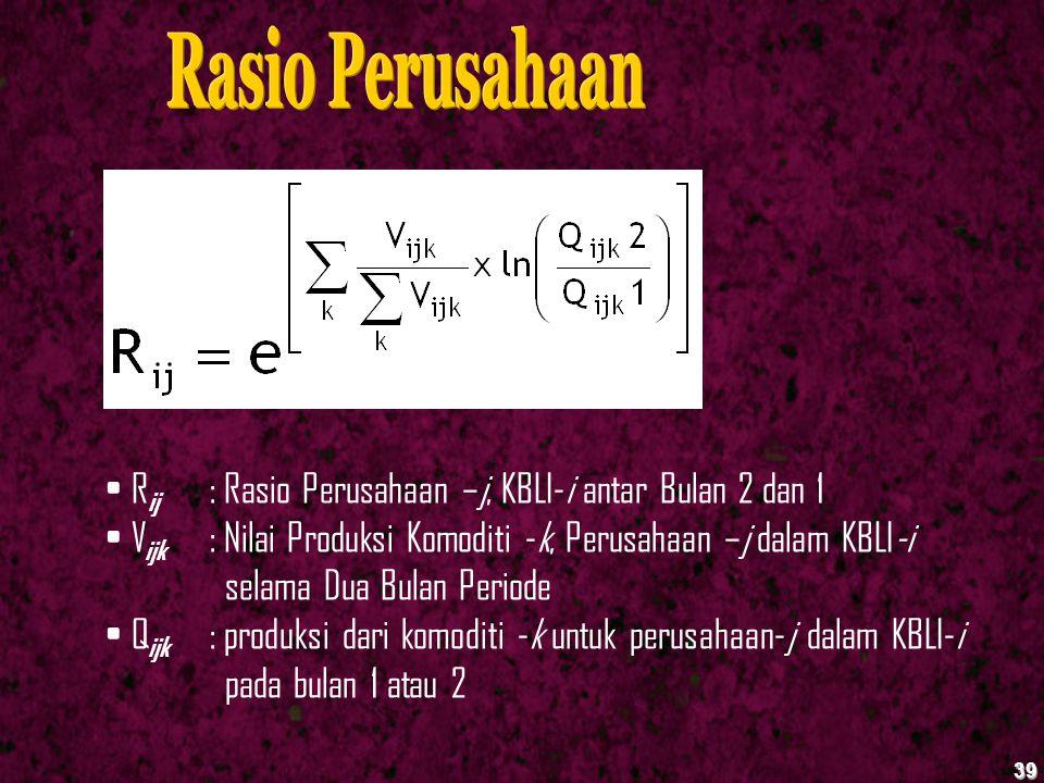 39 R ij : Rasio Perusahaan –j, KBLI-i antar Bulan 2 dan 1 V ijk : Nilai Produksi Komoditi -k, Perusahaan –j dalam KBLI-i selama Dua Bulan Periode Q ij