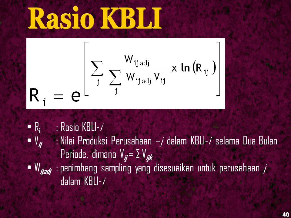 40 R i : Rasio KBLI-i V ij : Nilai Produksi Perusahaan –j dalam KBLI-i selama Dua Bulan Periode, dimana V ij = ∑ V ijk W ijadj : penimbang sampling ya