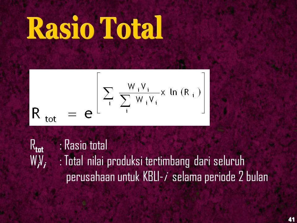 41 R tot : Rasio total W i V i : Total nilai produksi tertimbang dari seluruh perusahaan untuk KBLI-i selama periode 2 bulan