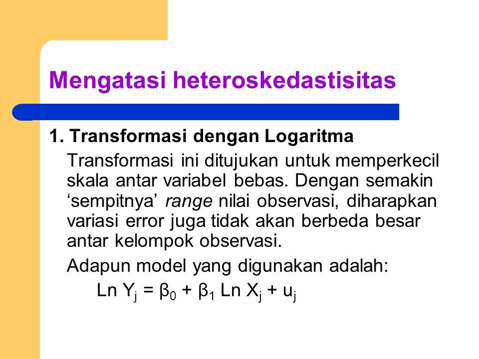 Mengatasi heteroskedastisitas 1. Transformasi dengan Logaritma Transformasi ini ditujukan untuk memperkecil skala antar variabel bebas. Dengan semakin