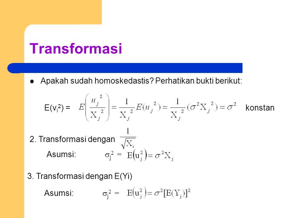 Transformasi Apakah sudah homoskedastis? Perhatikan bukti berikut: E(v i 2 ) =konstan 2. Transformasi dengan Asumsi:  j 2 = 3. Transformasi dengan E(