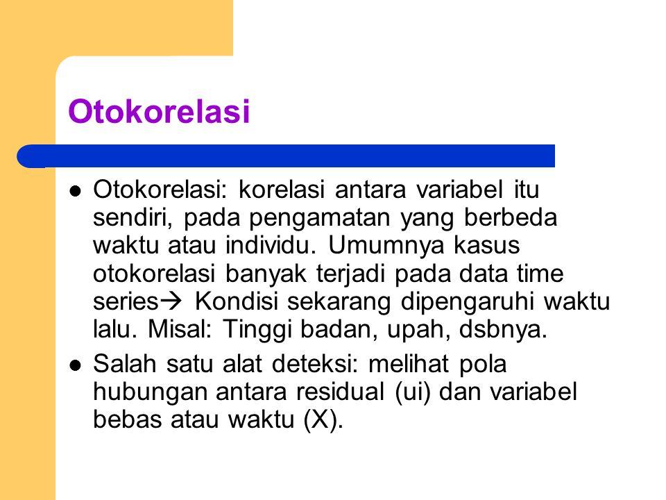 Otokorelasi Otokorelasi: korelasi antara variabel itu sendiri, pada pengamatan yang berbeda waktu atau individu.