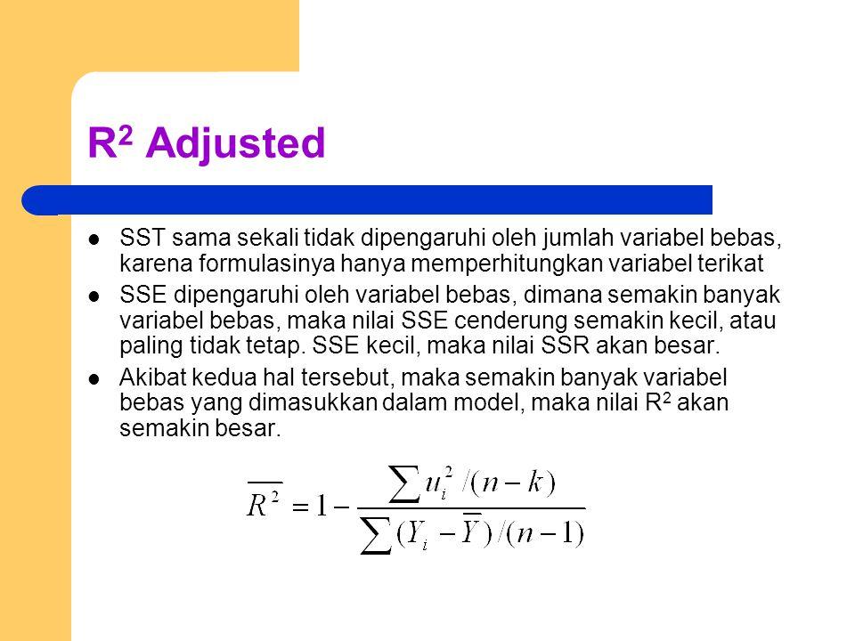 R 2 Adjusted SST sama sekali tidak dipengaruhi oleh jumlah variabel bebas, karena formulasinya hanya memperhitungkan variabel terikat SSE dipengaruhi oleh variabel bebas, dimana semakin banyak variabel bebas, maka nilai SSE cenderung semakin kecil, atau paling tidak tetap.