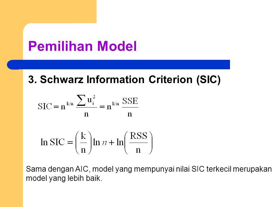 Pemilihan Model 3. Schwarz Information Criterion (SIC) Sama dengan AIC, model yang mempunyai nilai SIC terkecil merupakan model yang lebih baik.