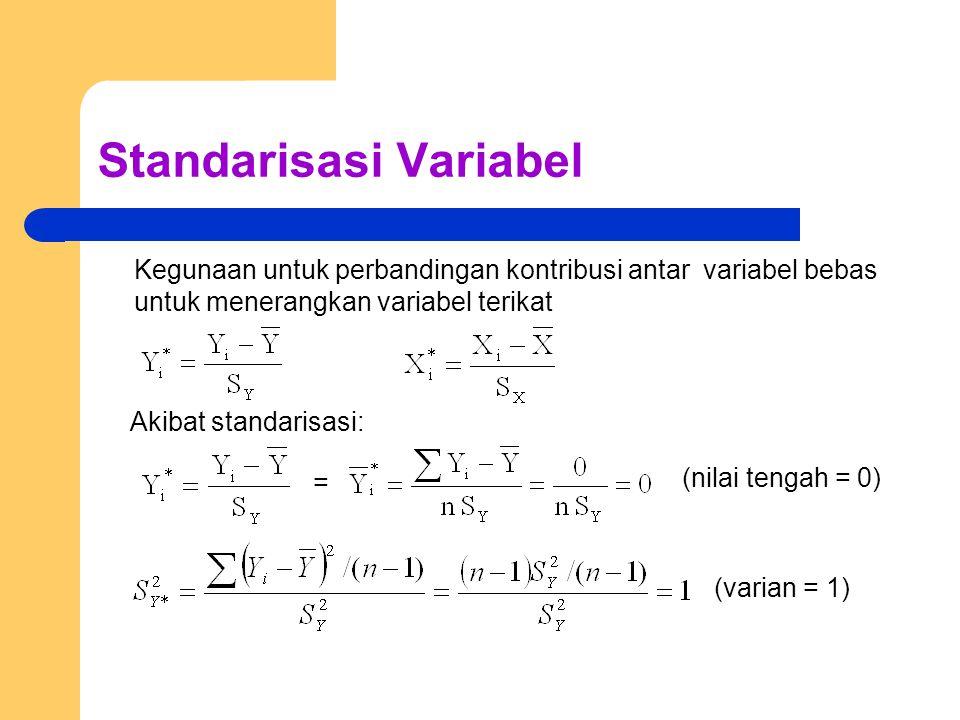 Standarisasi Variabel Kegunaan untuk perbandingan kontribusi antar variabel bebas untuk menerangkan variabel terikat Akibat standarisasi: (nilai tengah = 0) = (varian = 1)