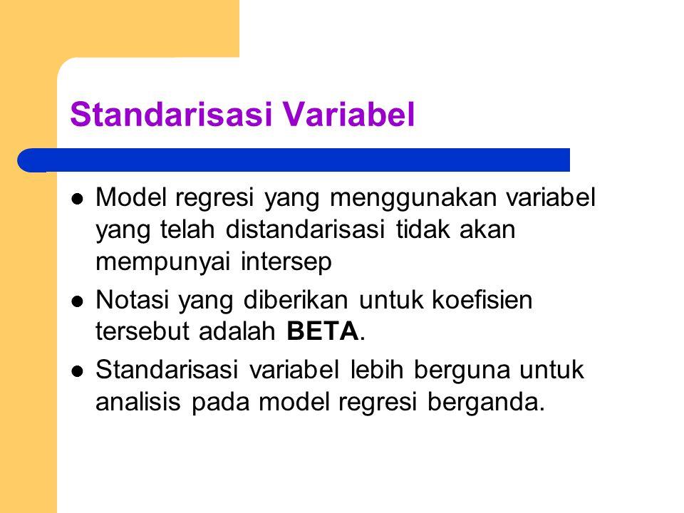 Standarisasi Variabel Model regresi yang menggunakan variabel yang telah distandarisasi tidak akan mempunyai intersep Notasi yang diberikan untuk koefisien tersebut adalah BETA.