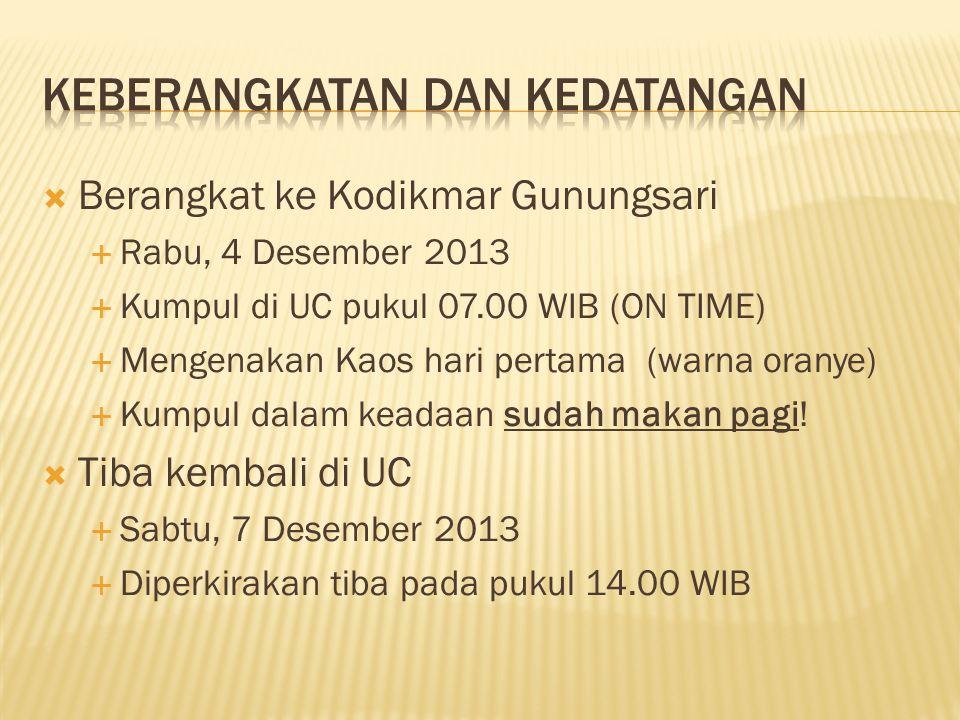  Berangkat ke Kodikmar Gunungsari  Rabu, 4 Desember 2013  Kumpul di UC pukul 07.00 WIB (ON TIME)  Mengenakan Kaos hari pertama (warna oranye)  Kumpul dalam keadaan sudah makan pagi.