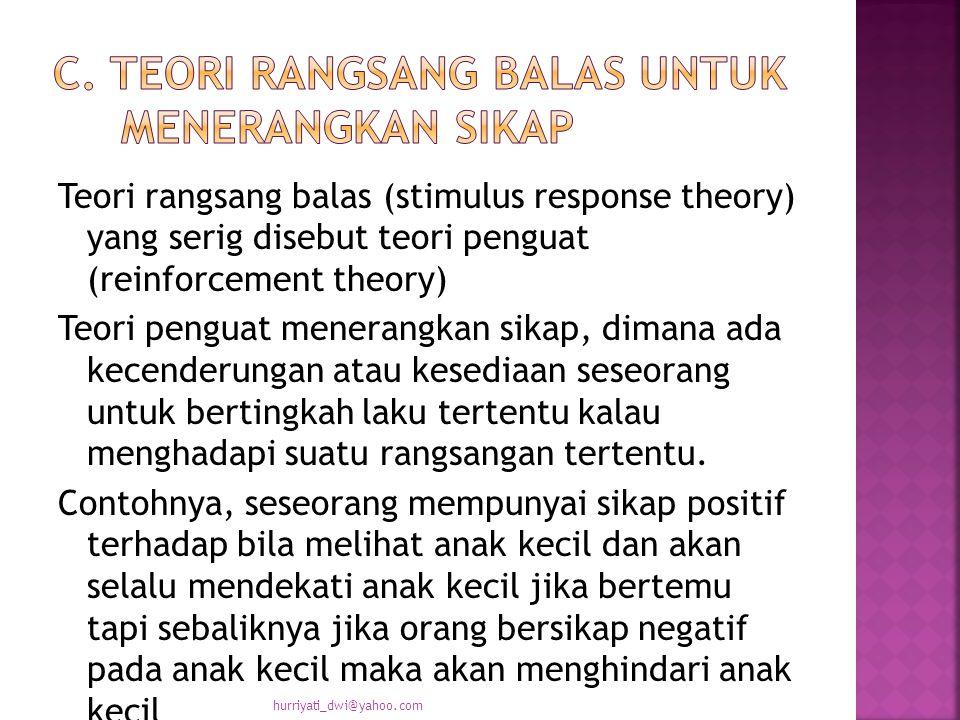 Teori rangsang balas (stimulus response theory) yang serig disebut teori penguat (reinforcement theory) Teori penguat menerangkan sikap, dimana ada kecenderungan atau kesediaan seseorang untuk bertingkah laku tertentu kalau menghadapi suatu rangsangan tertentu.