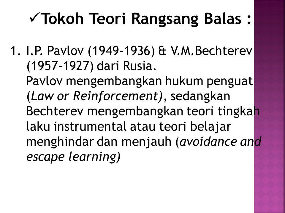Tokoh Teori Rangsang Balas : 1.I.P. Pavlov (1949-1936) & V.M.Bechterev (1957-1927) dari Rusia.