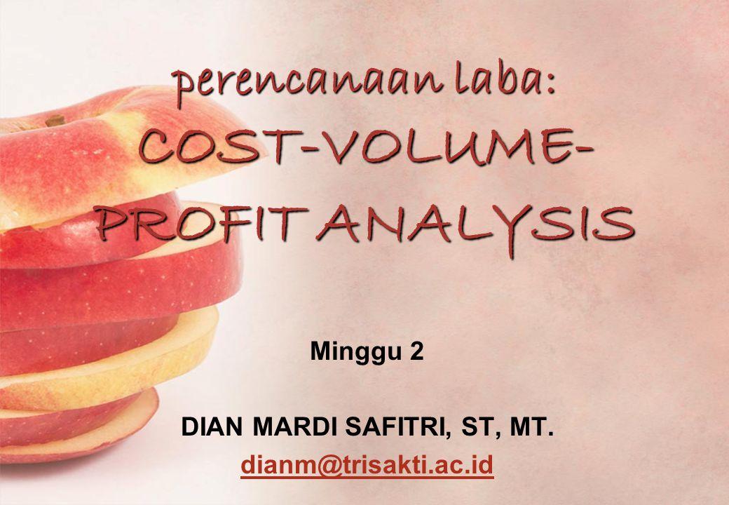 perencanaan laba: COST-VOLUME- PROFIT ANALYSIS Minggu 2 DIAN MARDI SAFITRI, ST, MT.