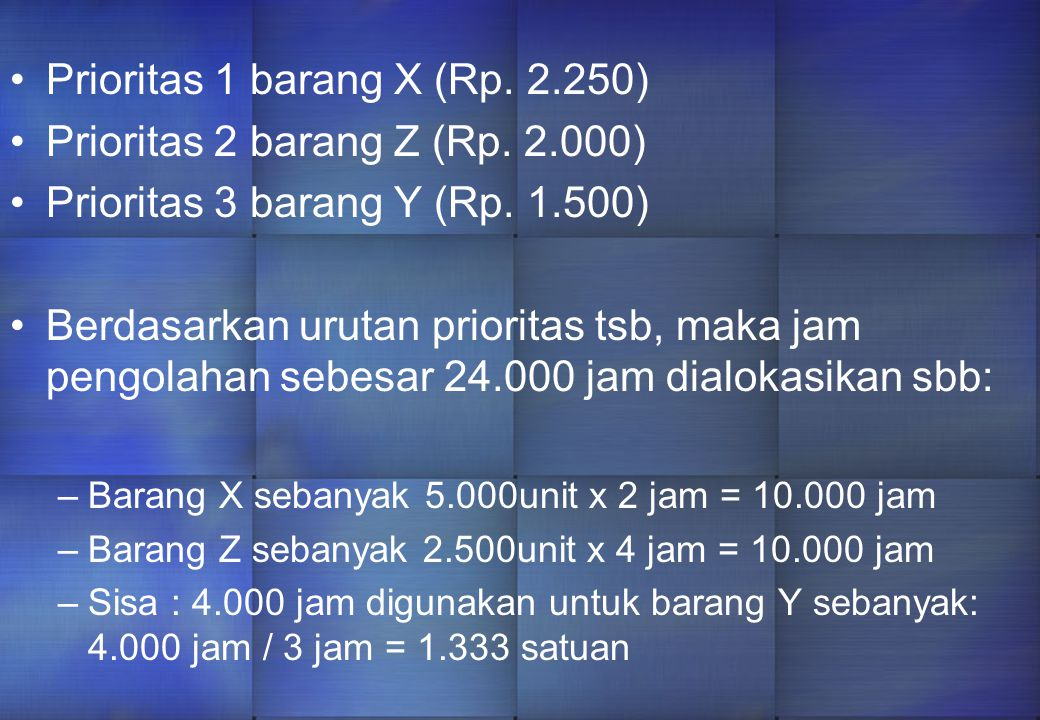 Prioritas 1 barang X (Rp.2.250) Prioritas 2 barang Z (Rp.