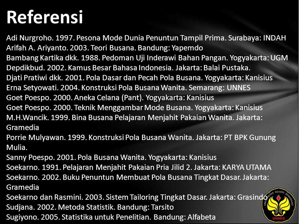 Referensi Adi Nurgroho. 1997. Pesona Mode Dunia Penuntun Tampil Prima.