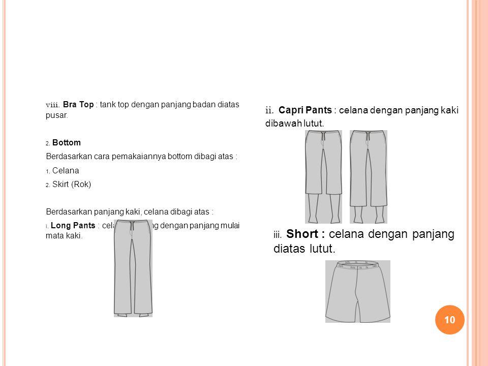 10 viii. Bra Top : tank top dengan panjang badan diatas pusar. 2. Bottom Berdasarkan cara pemakaiannya bottom dibagi atas : 1. Celana 2. Skirt (Rok) B