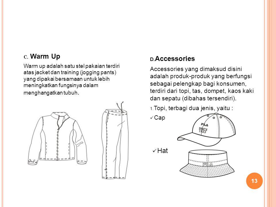 13 C. Warm Up Warm up adalah satu stel pakaian terdiri atas jacket dan training (jogging pants) yang dipakai bersamaan untuk lebih meningkatkan fungsi