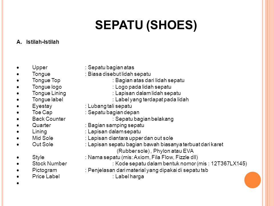 SEPATU (SHOES) A. Istilah-Istilah  Upper: Sepatu bagian atas  Tongue : Biasa disebut lidah sepatu  Tongue Top: Bagian atas dari lidah sepatu  Tong