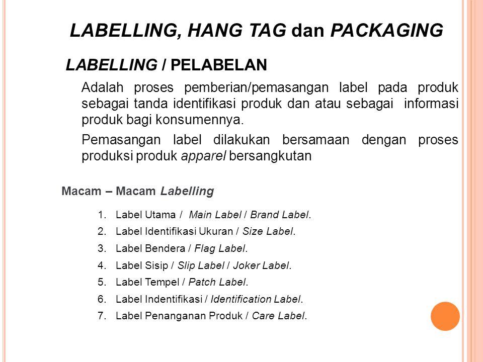 Adalah proses pemberian/pemasangan label pada produk sebagai tanda identifikasi produk dan atau sebagai informasi produk bagi konsumennya. Pemasangan