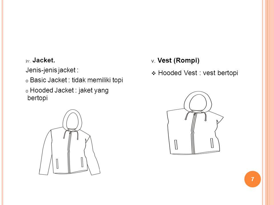 7 iv. Jacket. Jenis-jenis jacket : o Basic Jacket : tidak memiliki topi o Hooded Jacket : jaket yang bertopi v. Vest (Rompi)  Hooded Vest : vest bert