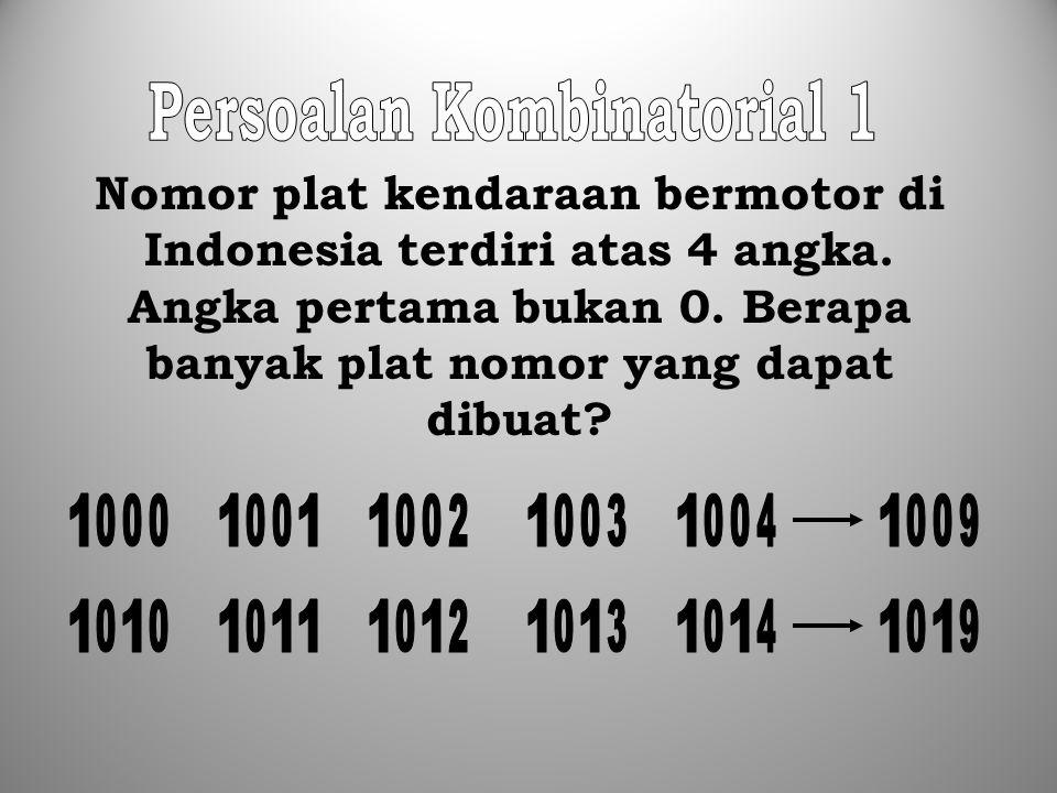 Nomor plat kendaraan bermotor di Indonesia terdiri atas 4 angka. Angka pertama bukan 0. Berapa banyak plat nomor yang dapat dibuat?