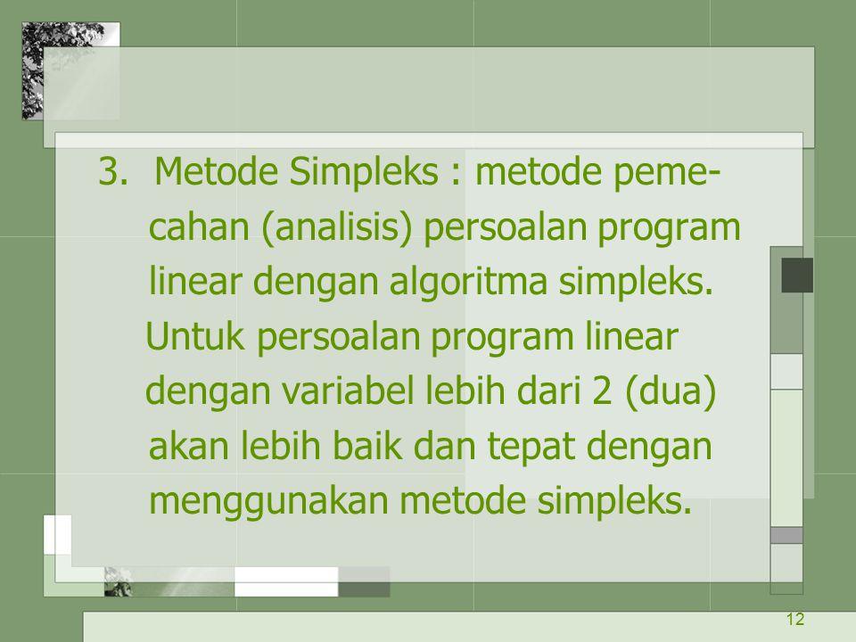12 3. Metode Simpleks : metode peme- cahan (analisis) persoalan program linear dengan algoritma simpleks. Untuk persoalan program linear dengan variab
