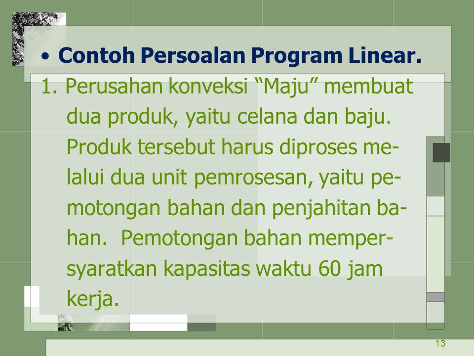 """13 Contoh Persoalan Program Linear. 1. Perusahan konveksi """"Maju"""" membuat dua produk, yaitu celana dan baju. Produk tersebut harus diproses me- lalui d"""