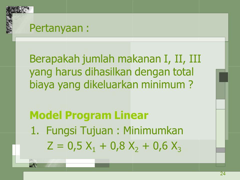 24 Pertanyaan : Berapakah jumlah makanan I, II, III yang harus dihasilkan dengan total biaya yang dikeluarkan minimum ? Model Program Linear 1. Fungsi