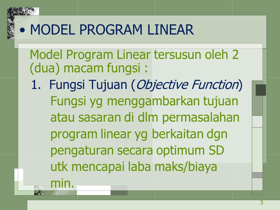 3 MODEL PROGRAM LINEAR Model Program Linear tersusun oleh 2 (dua) macam fungsi : 1. Fungsi Tujuan (Objective Function) Fungsi yg menggambarkan tujuan