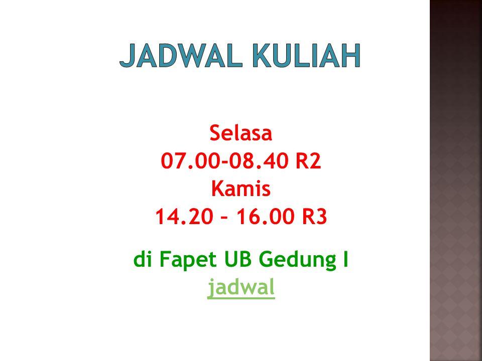 Selasa 07.00-08.40 R2 Kamis 14.20 – 16.00 R3 di Fapet UB Gedung I jadwal