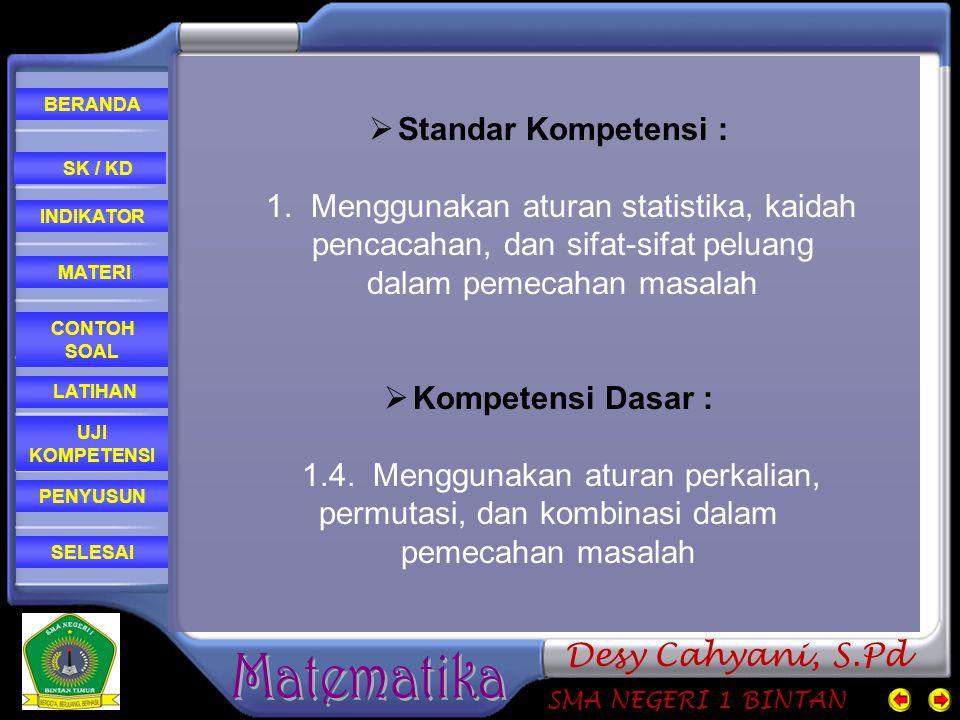 CONTOH SOAL MATERI PENYUSUN INDIKATOR SK / KD LATIHAN BERANDA SELESAI UJI KOMPETENSI SMA NEGERI 1 BINTAN Desy Cahyani, S.Pd  Indikator : Menyusun aturan perkalian Menggunakan aturan perkalian untuk menyelesaikan soal Mendefinisikan permutasi dan menggunakan permutasi dalam pemecahan soal Mendefinisikan kombinasi dan menggunakan kombinasi dalam pemecahan soal