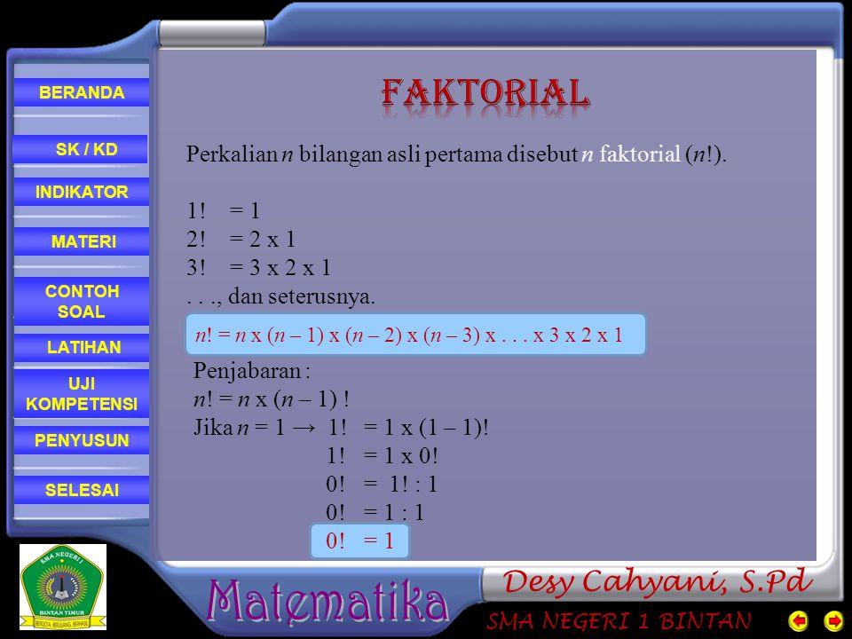 CONTOH SOAL MATERI PENYUSUN INDIKATOR SK / KD LATIHAN BERANDA SELESAI UJI KOMPETENSI SMA NEGERI 1 BINTAN Desy Cahyani, S.Pd Perkalian n bilangan asli pertama disebut n faktorial (n!).