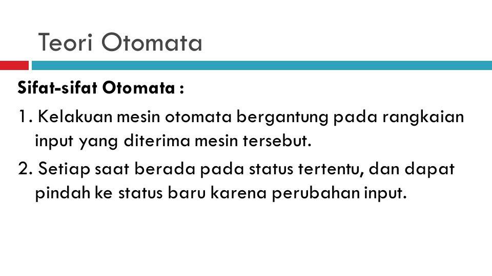 Teori Otomata  Otomata adalah mesin abstrak yang dapat mengenali (recognize), menerima (accept), atau membangkitkan (generate) sebuah kalimat dalam b