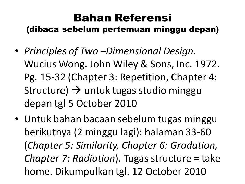 Bahan Referensi (dibaca sebelum pertemuan minggu depan) Principles of Two –Dimensional Design. Wucius Wong. John Wiley & Sons, Inc. 1972. Pg. 15-32 (C