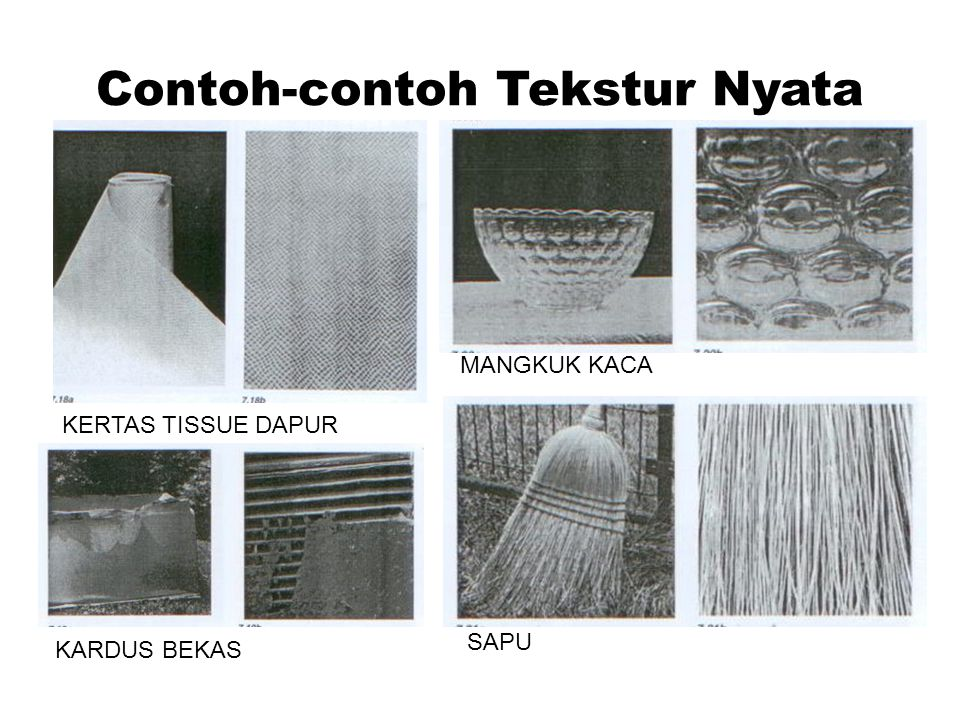 Contoh-contoh Tekstur Nyata KERTAS TISSUE DAPUR KARDUS BEKAS MANGKUK KACA SAPU