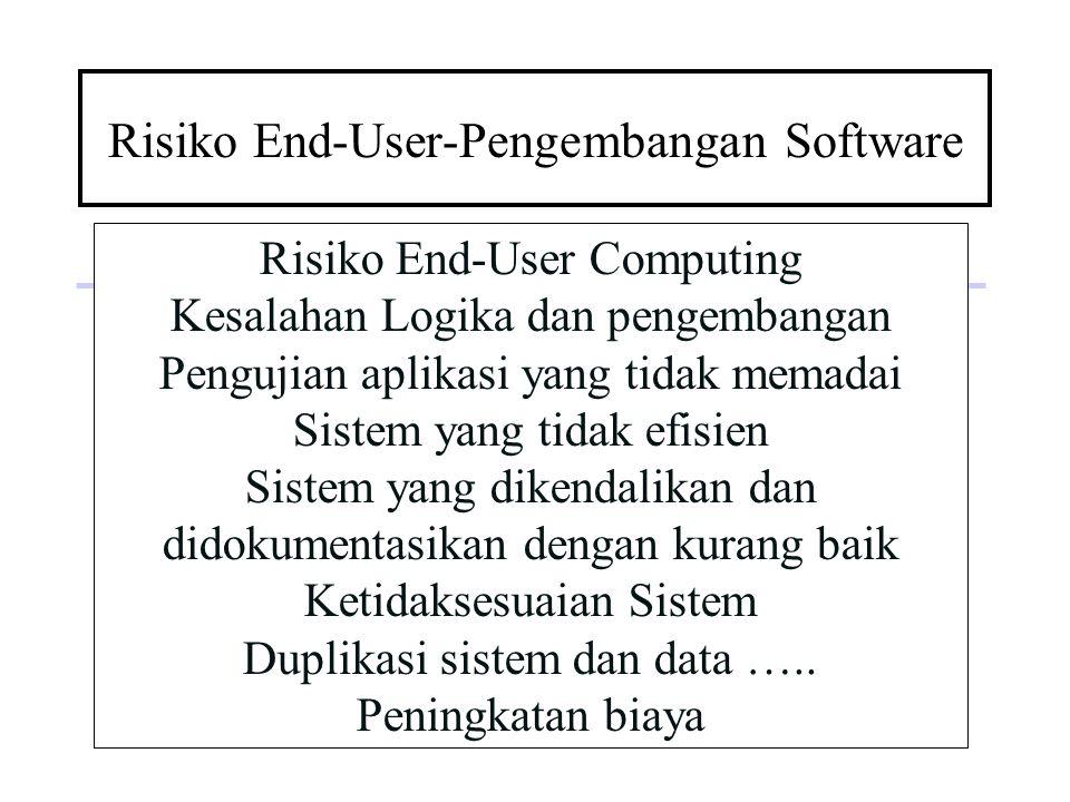 Risiko End-User-Pengembangan Software Risiko End-User Computing Kesalahan Logika dan pengembangan Pengujian aplikasi yang tidak memadai Sistem yang ti