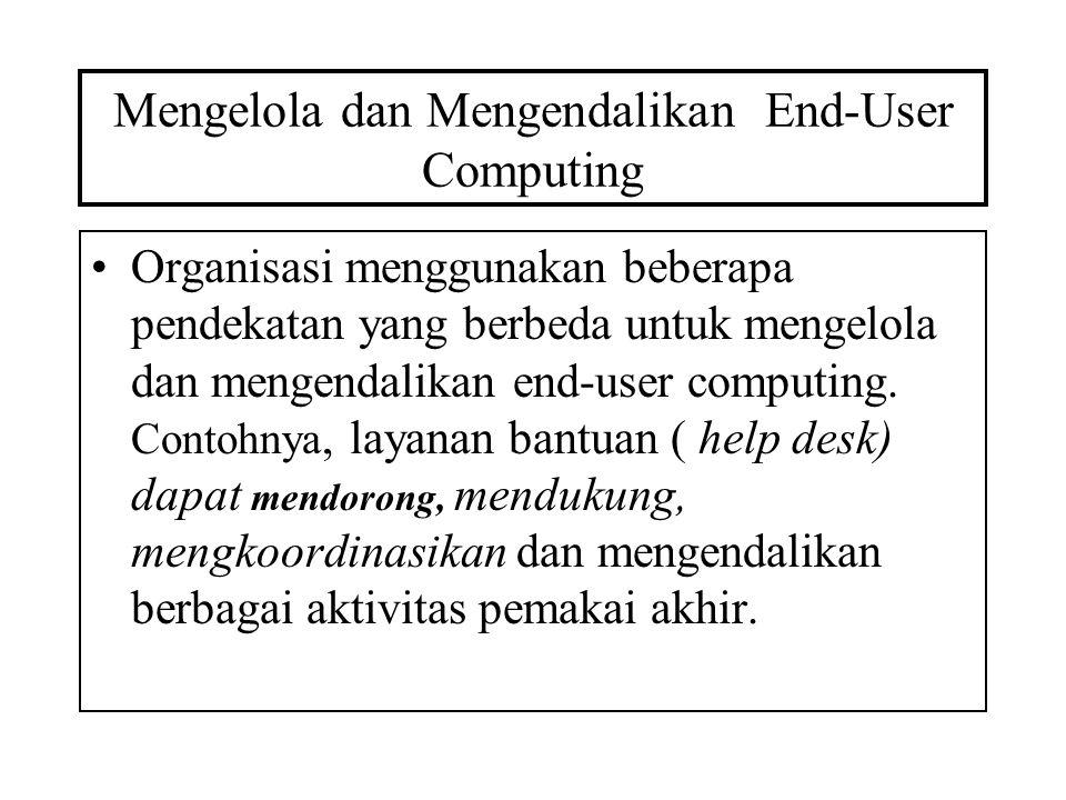 Mengelola dan Mengendalikan End-User Computing Organisasi menggunakan beberapa pendekatan yang berbeda untuk mengelola dan mengendalikan end-user comp