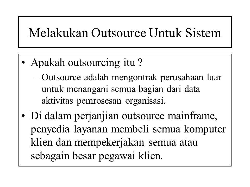 Melakukan Outsource Untuk Sistem Apakah outsourcing itu ? –Outsource adalah mengontrak perusahaan luar untuk menangani semua bagian dari data aktivita