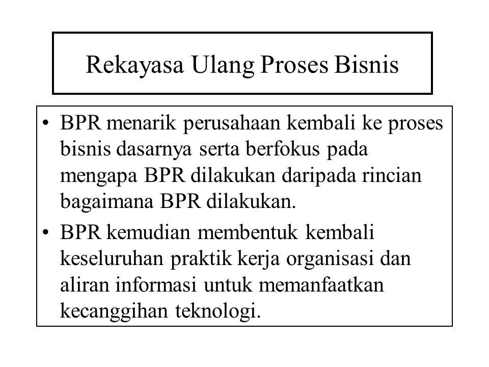 Rekayasa Ulang Proses Bisnis BPR menarik perusahaan kembali ke proses bisnis dasarnya serta berfokus pada mengapa BPR dilakukan daripada rincian bagai