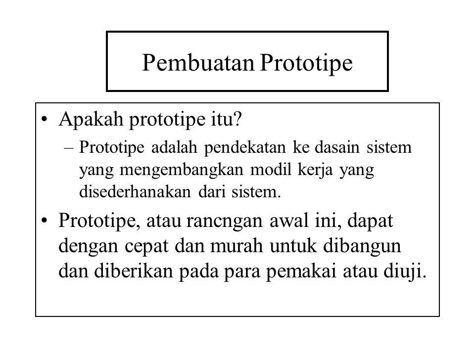 Pembuatan Prototipe Apakah prototipe itu? –Prototipe adalah pendekatan ke dasain sistem yang mengembangkan modil kerja yang disederhanakan dari sistem