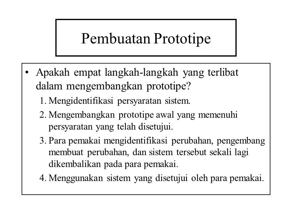 Pembuatan Prototipe Apakah empat langkah-langkah yang terlibat dalam mengembangkan prototipe? 1.Mengidentifikasi persyaratan sistem. 2.Mengembangkan p
