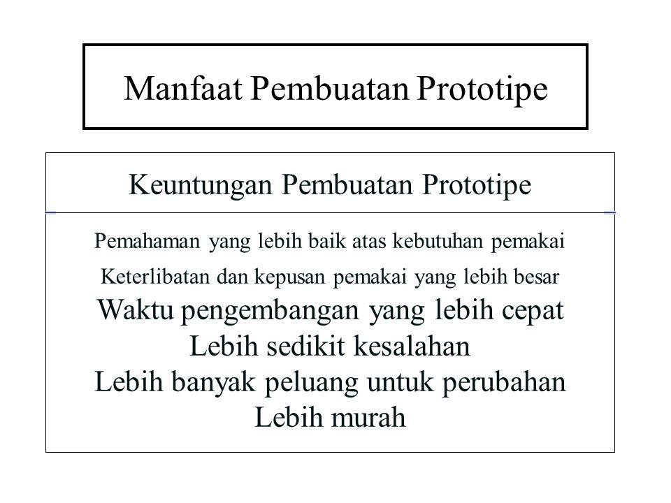 Manfaat Pembuatan Prototipe Keuntungan Pembuatan Prototipe Pemahaman yang lebih baik atas kebutuhan pemakai Keterlibatan dan kepusan pemakai yang lebi