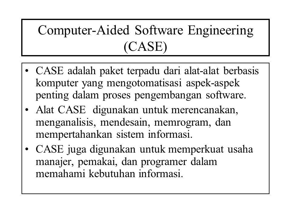 Computer-Aided Software Engineering (CASE) CASE adalah paket terpadu dari alat-alat berbasis komputer yang mengotomatisasi aspek-aspek penting dalam p