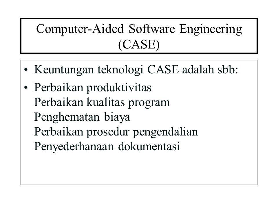 Computer-Aided Software Engineering (CASE) Keuntungan teknologi CASE adalah sbb: Perbaikan produktivitas Perbaikan kualitas program Penghematan biaya