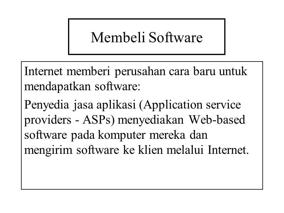Membeli Software Internet memberi perusahan cara baru untuk mendapatkan software: Penyedia jasa aplikasi (Application service providers - ASPs) menyed