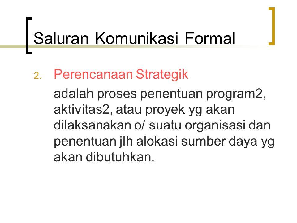 Saluran Komunikasi Formal 2. Perencanaan Strategik adalah proses penentuan program2, aktivitas2, atau proyek yg akan dilaksanakan o/ suatu organisasi