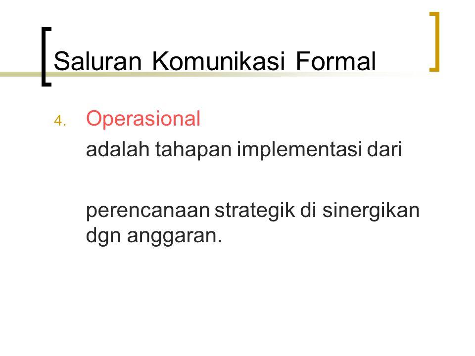 Saluran Komunikasi Formal 4. Operasional adalah tahapan implementasi dari perencanaan strategik di sinergikan dgn anggaran.