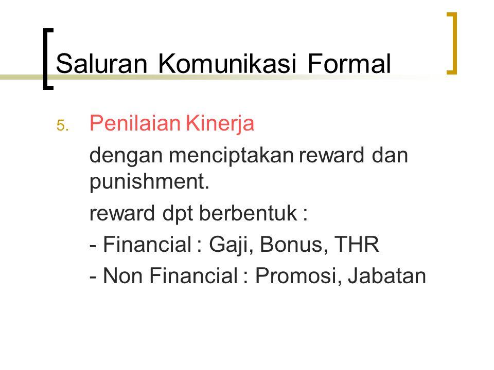 Saluran Komunikasi Formal 5. Penilaian Kinerja dengan menciptakan reward dan punishment. reward dpt berbentuk : - Financial : Gaji, Bonus, THR - Non F