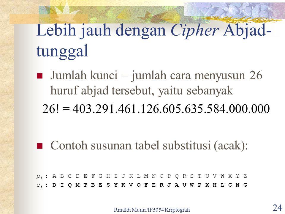 Rinaldi Munir/IF5054 Kriptografi 24 Lebih jauh dengan Cipher Abjad- tunggal Jumlah kunci = jumlah cara menyusun 26 huruf abjad tersebut, yaitu sebanyak 26.