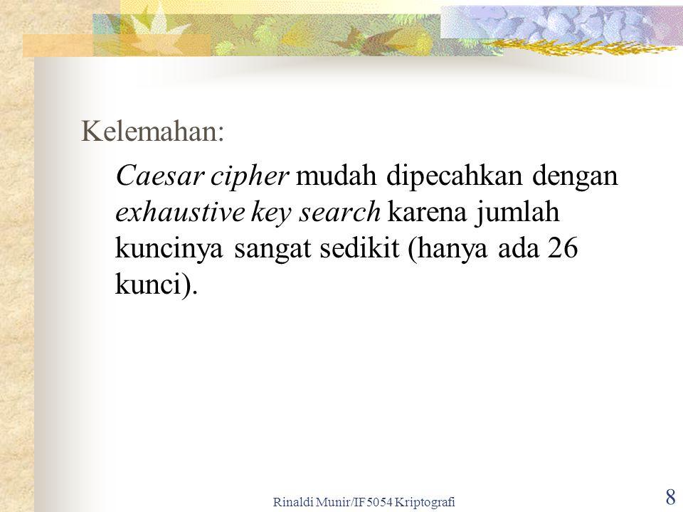 Rinaldi Munir/IF5054 Kriptografi 9 Contoh: kriptogram XMZVH Plainteks yang potensial adalah CREAM dengan k = 21.